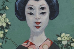 140904 Madama Butterfly (Cho-Cho-Cho-Cho-San). Acrylics on panel painting by Kevin McSherry