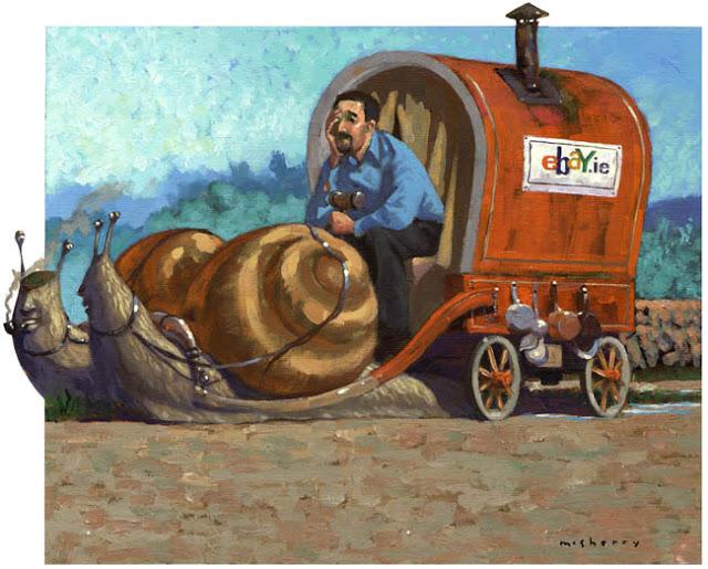 illustration in acrylics on paper about eBay MD John McElligott for Sunday Tribune newspaper