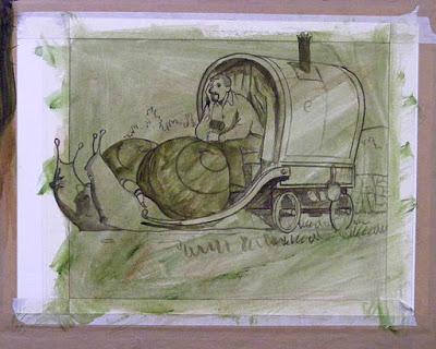 Preparation underpainting for editorial illustration on John McElligott of eBay