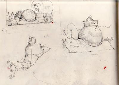 Pencil sketches for editorial illustration on John McElligott of eBay