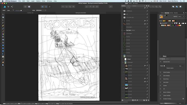 A digital vector illustration artwork for a book cover. Moggles & The Ninth Life. Made in Affinity Designer.