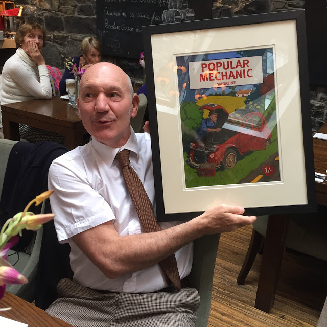 M. Philippe Milloux at the presentation lunch with his portrait artwork.