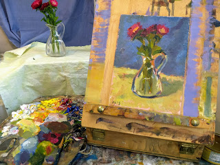 Studio Setup Still Life Alla Prima Demonstration in oils by Kevin McSherry. China Asters.