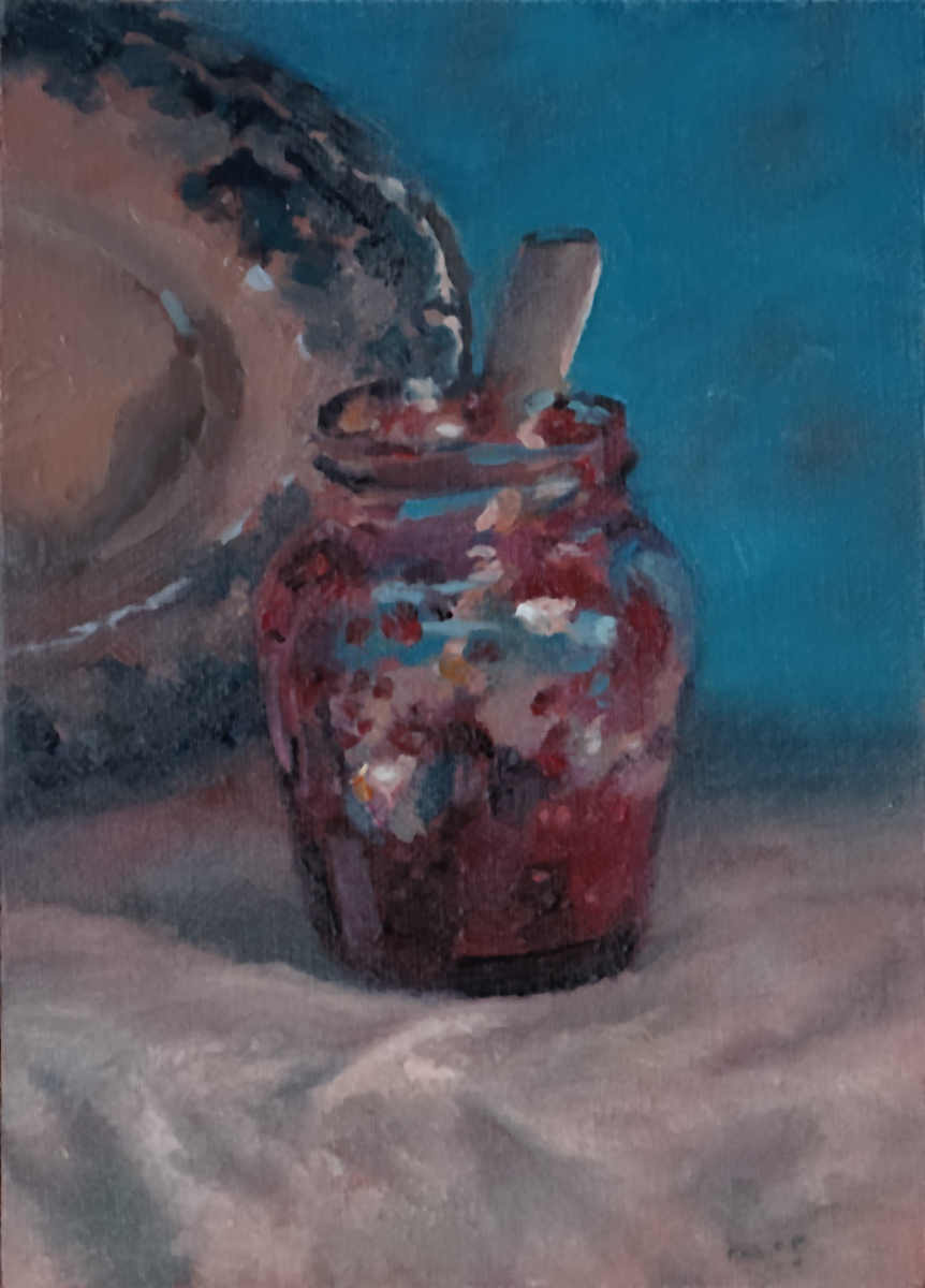171112_36 Jar of Sunshine still life oils daily painting study by Kevin McSherry