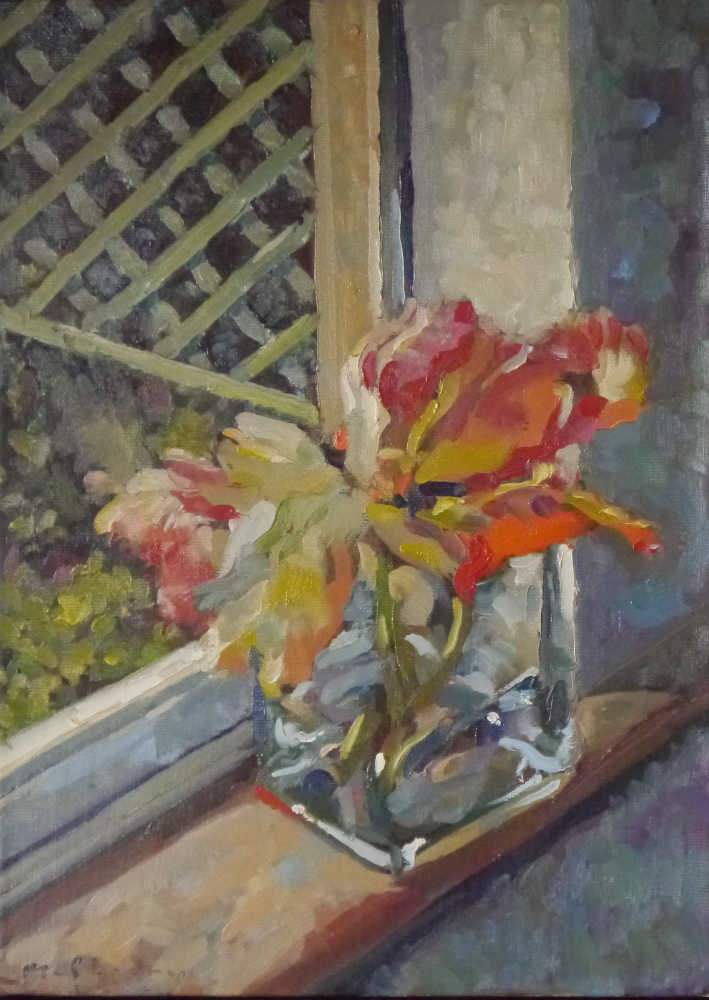 "Tulips Study. Oils on canvas 10"" x 14"". Kevin McSherry"