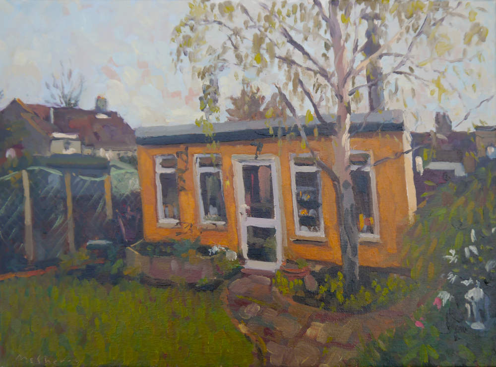 The Artist's Studio, Aideen Avenue. En plein air landscape oil painting.