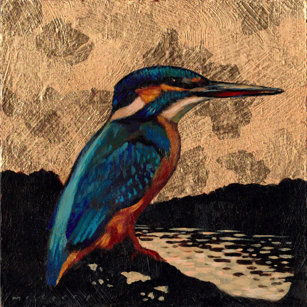 "Art commission of a kingfisher painting in gilded acrylics on a gessoed panel by Kevin McSherry. 6"" x 6""."