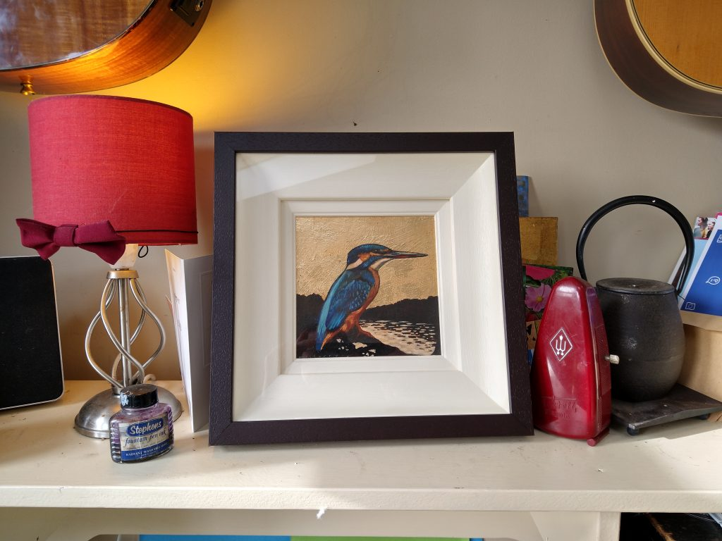 Gilded Acrylics Kingfisher painting