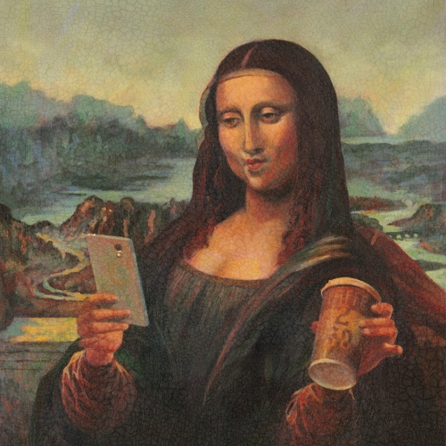 Kevin McSherry Mona Lisa. Advertising Pharma product. USA