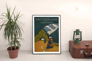 SC180151:w Switzerland by Scooter on wall